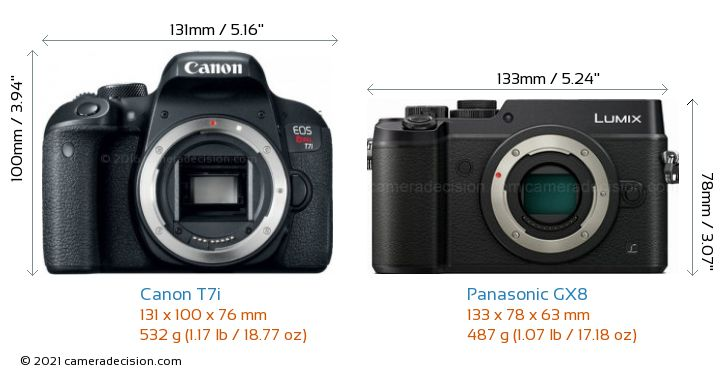 Canon T7i vs Panasonic GX8 Camera Size Comparison - Front View