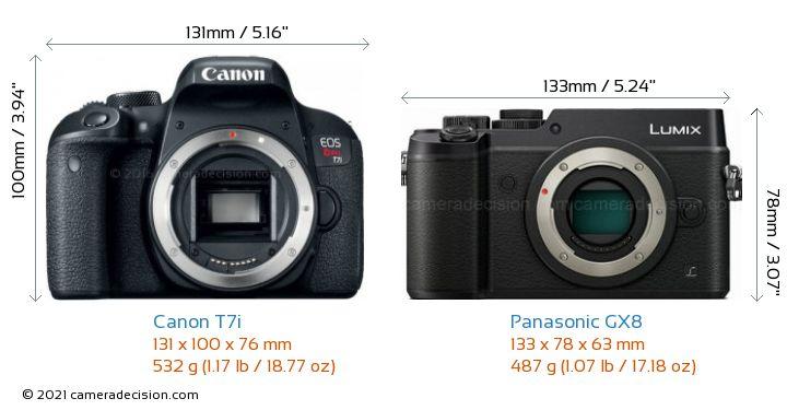 Canon T7i vs Panasonic GX8 Camera Size Comparison - Front View
