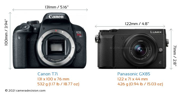 Canon T7i vs Panasonic GX85 Camera Size Comparison - Front View
