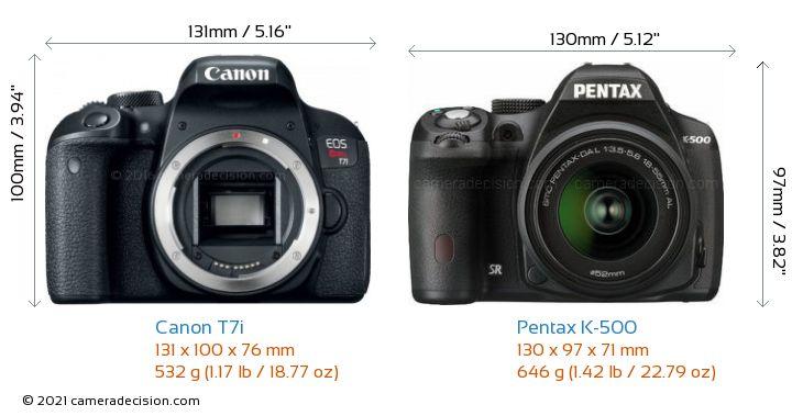 Canon T7i vs Pentax K-500 Camera Size Comparison - Front View