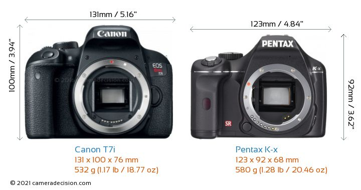 Canon T7i vs Pentax K-x Camera Size Comparison - Front View