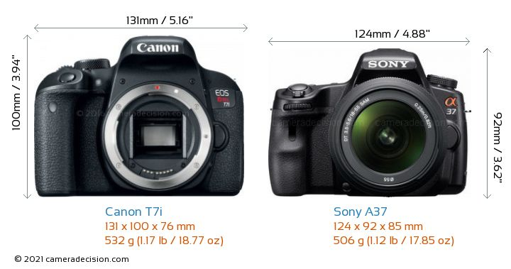 Canon T7i vs Sony A37 Camera Size Comparison - Front View