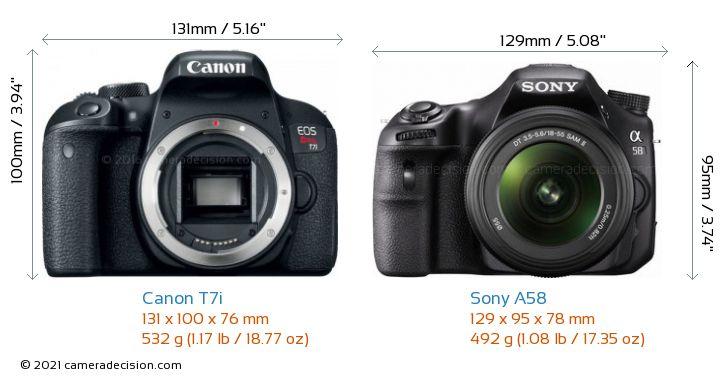 Canon T7i vs Sony A58 Camera Size Comparison - Front View