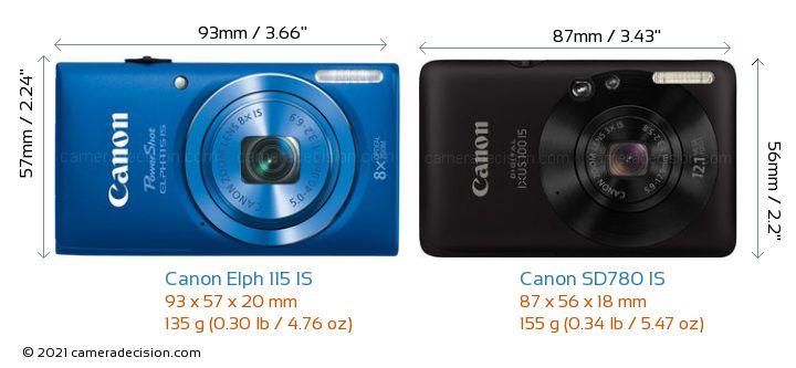 Canon Elph 115 IS vs Canon SD780 IS Camera Size Comparison - Front View