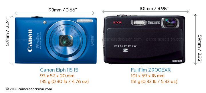 Canon Elph 115 IS vs Fujifilm Z900EXR Camera Size Comparison - Front View