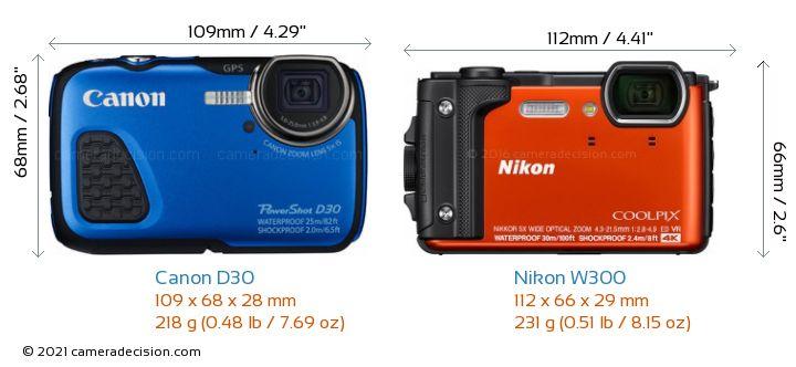 Canon D30 vs Nikon W300 Camera Size Comparison - Front View