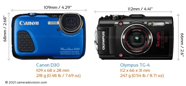 Canon D30 vs Olympus TG-4 Camera Size Comparison - Front View