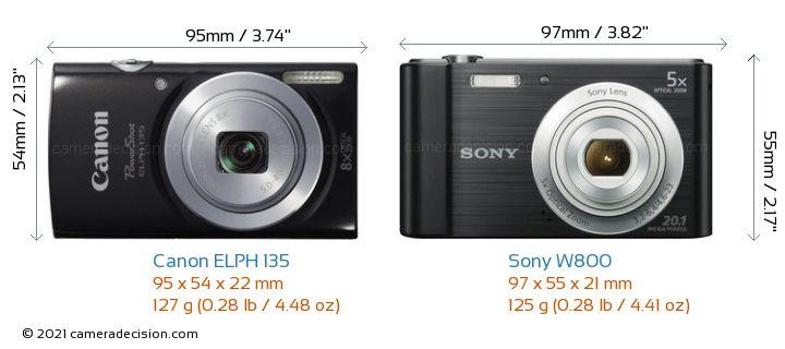 Canon ELPH 135 vs Sony W800 Camera Size Comparison - Front View