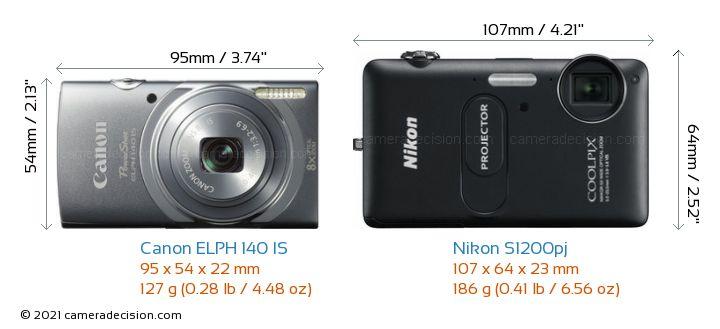 Canon ELPH 140 IS vs Nikon S1200pj Camera Size Comparison - Front View