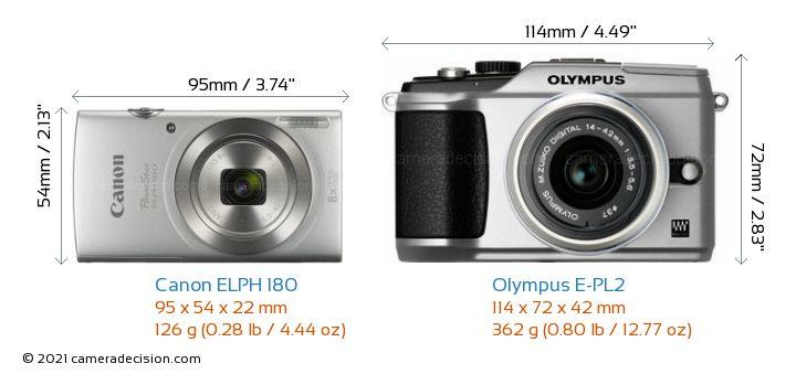 Canon ELPH 180 vs Olympus E-PL2 Camera Size Comparison - Front View
