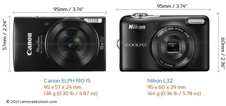 Canon ELPH 190 IS vs Nikon L32 Camera Size Comparison - Front View