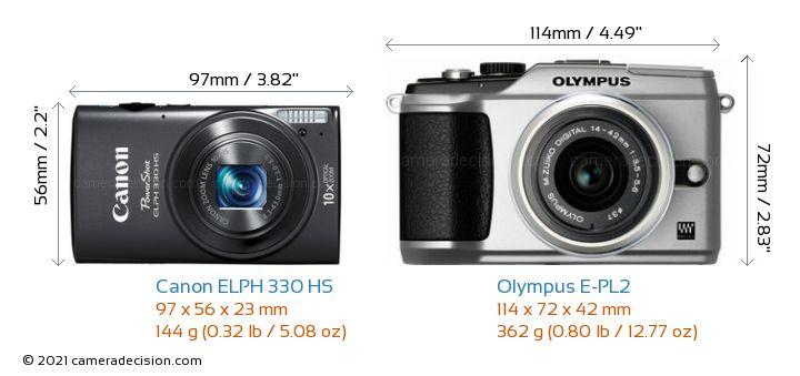 Canon ELPH 330 HS vs Olympus E-PL2 Camera Size Comparison - Front View