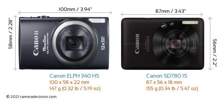 Canon ELPH 340 HS vs Canon SD780 IS Camera Size Comparison - Front View