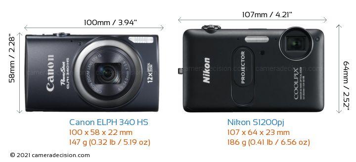 Canon ELPH 340 HS vs Nikon S1200pj Camera Size Comparison - Front View