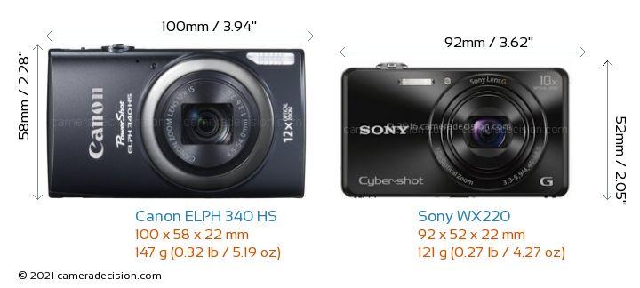 Canon ELPH 340 HS vs Sony WX220 Camera Size Comparison - Front View