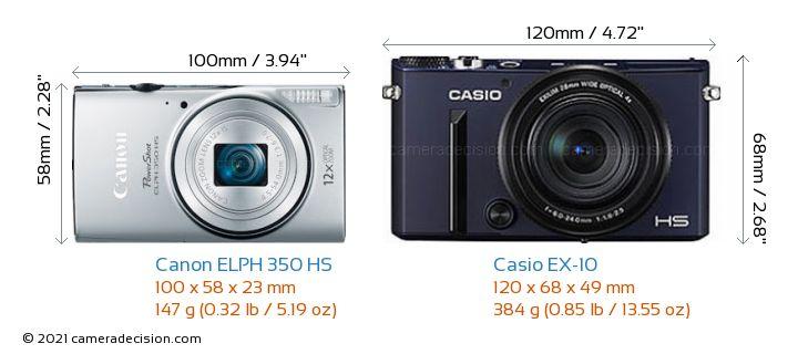 Canon ELPH 350 HS vs Casio EX-10 Camera Size Comparison - Front View