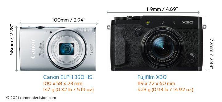 Canon ELPH 350 HS vs Fujifilm X30 Camera Size Comparison - Front View