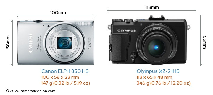 Canon ELPH 350 HS vs Olympus XZ-2 iHS Camera Size Comparison - Front View