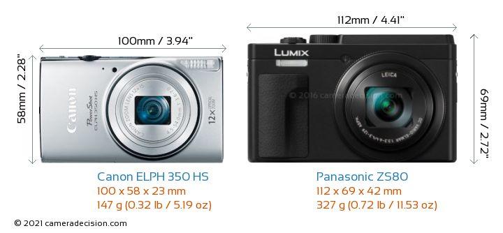 Canon ELPH 350 HS vs Panasonic ZS80 Camera Size Comparison - Front View