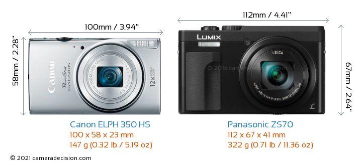 Canon ELPH 350 HS vs Panasonic ZS70 Camera Size Comparison - Front View