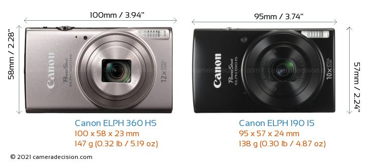 Canon Elph 360 Hs Vs 190 Is Camera Size Comparison Front View