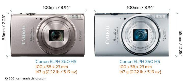 Canon ELPH 360 HS vs Canon ELPH 350 HS Camera Size Comparison - Front View