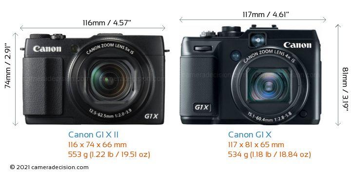 Canon G1 X II vs Canon G1 X Camera Size Comparison - Front View