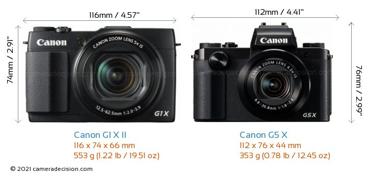Canon G1 X MII vs Canon G5 X Camera Size Comparison - Front View