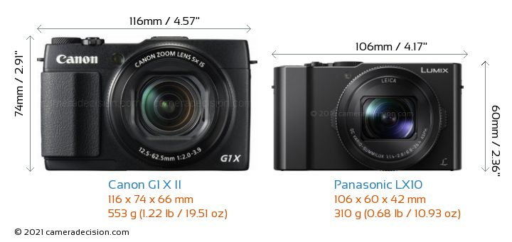 Canon G1 X II vs Panasonic LX10 Camera Size Comparison - Front View