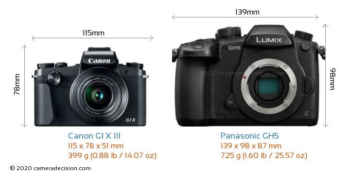 Canon G1 X III vs Panasonic GH5 Camera Size Comparison - Front View
