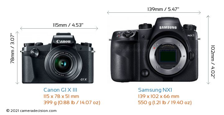 Canon G1 X III vs Samsung NX1 Camera Size Comparison - Front View