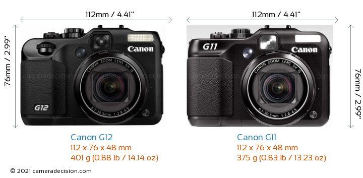Canon G12 vs Canon G11 Camera Size Comparison - Front View