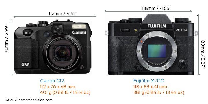 Canon G12 vs Fujifilm X-T10 Camera Size Comparison - Front View
