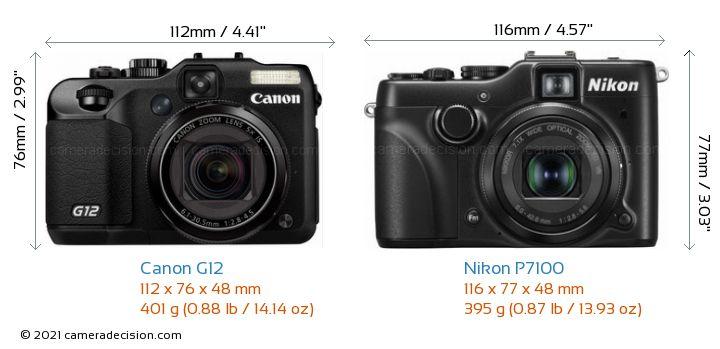 Canon G12 vs Nikon P7100 Camera Size Comparison - Front View