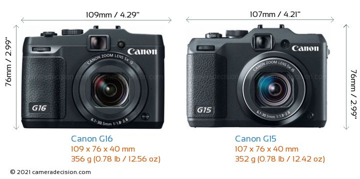 Canon G16 vs Canon G15 Camera Size Comparison - Front View