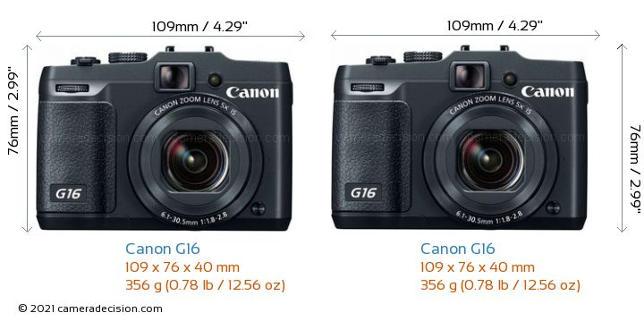 Canon G16 vs Canon G16 Camera Size Comparison - Front View