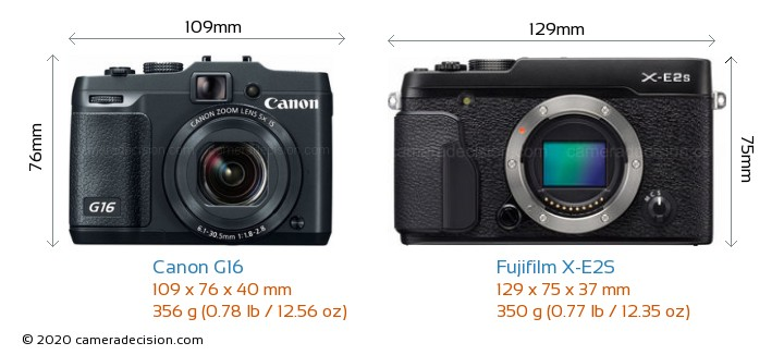 Canon G16 vs Fujifilm X-E2S Camera Size Comparison - Front View