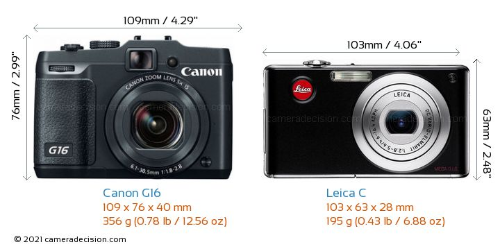 Canon G16 vs Leica C Camera Size Comparison - Front View