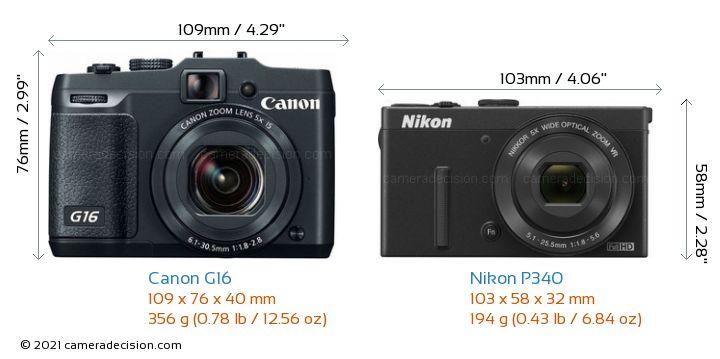 Canon G16 vs Nikon P340 Camera Size Comparison - Front View