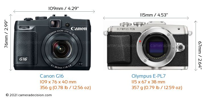 Canon G16 vs Olympus E-PL7 Camera Size Comparison - Front View