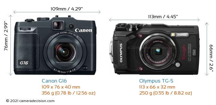 Canon G16 vs Olympus TG-5 Camera Size Comparison - Front View
