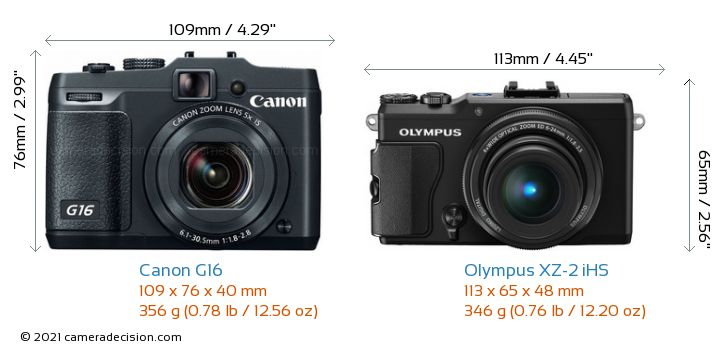Canon G16 vs Olympus XZ-2 iHS Camera Size Comparison - Front View