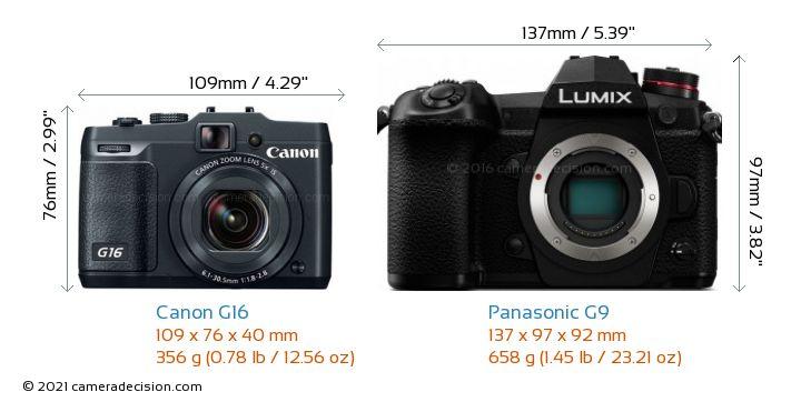 Canon G16 vs Panasonic G9 Camera Size Comparison - Front View