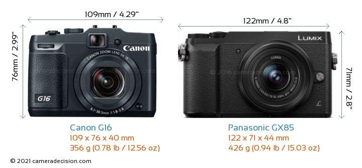 Canon G16 vs Panasonic GX85 Camera Size Comparison - Front View