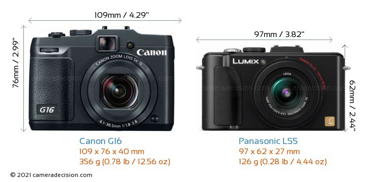 Canon G16 vs Panasonic LS5 Camera Size Comparison - Front View