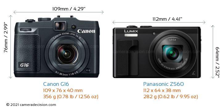 Canon G16 vs Panasonic ZS60 Camera Size Comparison - Front View