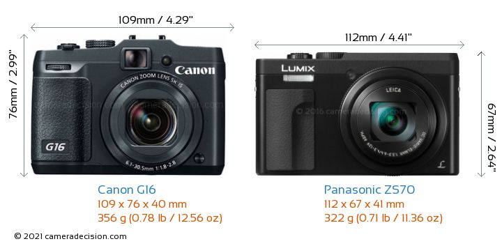 Canon G16 vs Panasonic ZS70 Camera Size Comparison - Front View