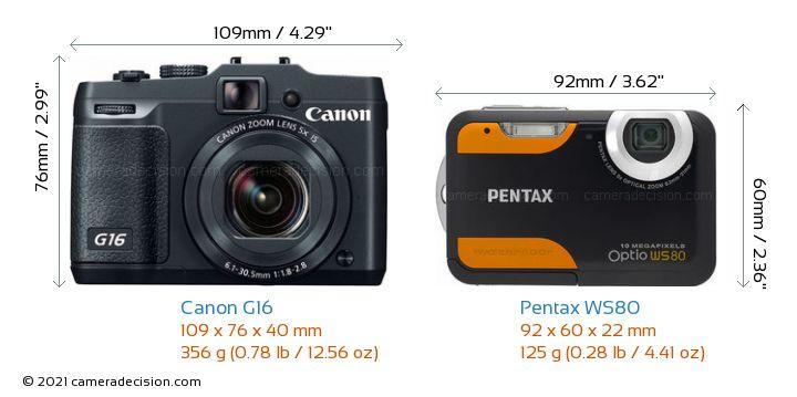 Canon G16 vs Pentax WS80 Camera Size Comparison - Front View