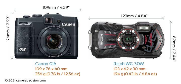 Canon G16 vs Ricoh WG-30W Camera Size Comparison - Front View