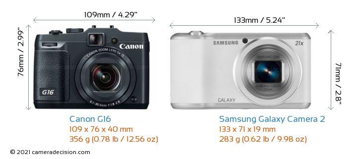 Canon G16 vs Samsung Galaxy Camera 2 Camera Size Comparison - Front View